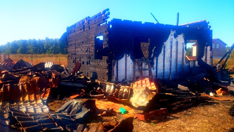Снос сгоревшего дома из бруса в Чеховском районе